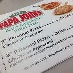 Papa Johns menu sign
